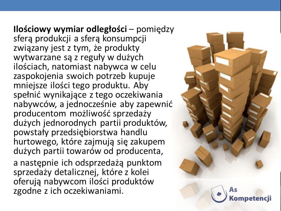 Ilościowy wymiar odległości – pomiędzy sferą produkcji a sferą konsumpcji związany jest z tym, że produkty wytwarzane są z reguły w dużych ilościach, natomiast nabywca w celu zaspokojenia swoich potrzeb kupuje mniejsze ilości tego produktu. Aby spełnić wynikające z tego oczekiwania nabywców, a jednocześnie aby zapewnić producentom możliwość sprzedaży dużych jednorodnych partii produktów, powstały przedsiębiorstwa handlu hurtowego, które zajmują się zakupem dużych partii towarów od producenta,