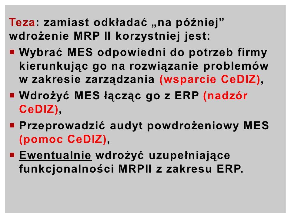 """Teza: zamiast odkładać """"na później wdrożenie MRP II korzystniej jest:"""