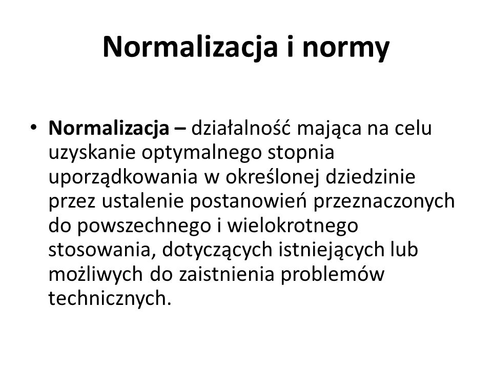 Normalizacja i normy