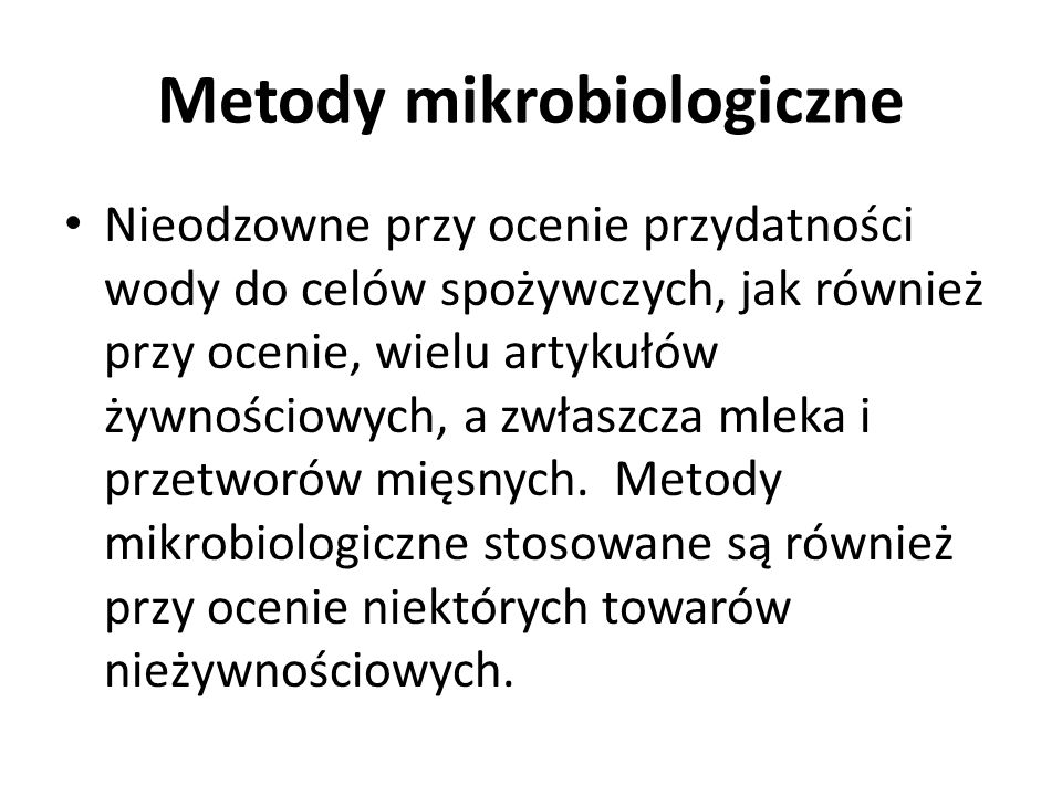 Metody mikrobiologiczne