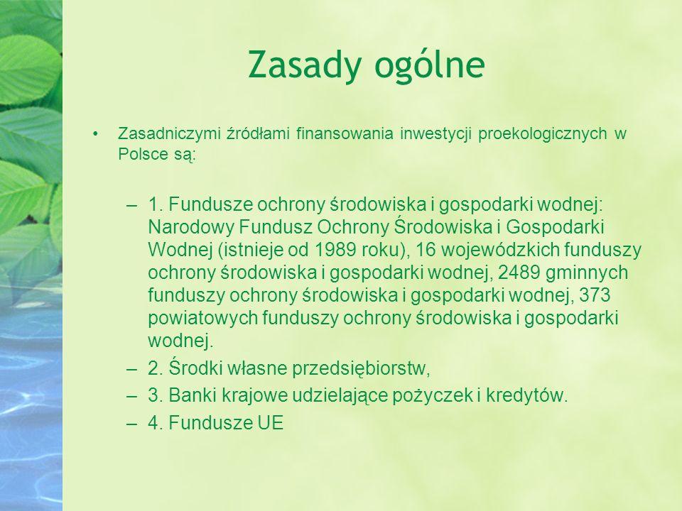 Zasady ogólne Zasadniczymi źródłami finansowania inwestycji proekologicznych w Polsce są:
