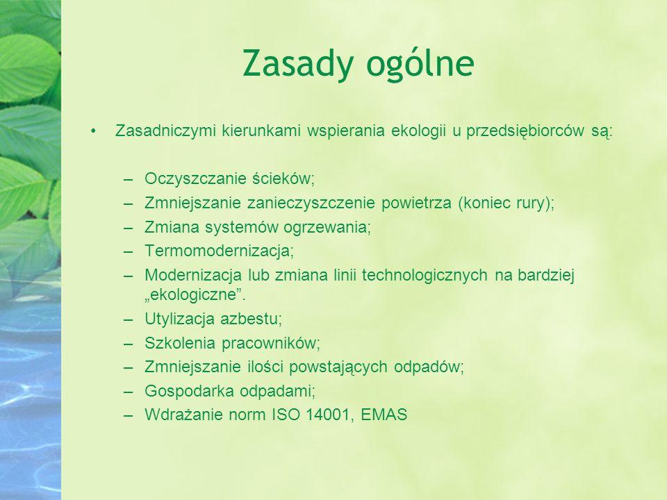 Zasady ogólne Zasadniczymi kierunkami wspierania ekologii u przedsiębiorców są: Oczyszczanie ścieków;