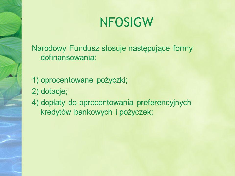 NFOSIGW Narodowy Fundusz stosuje następujące formy dofinansowania: