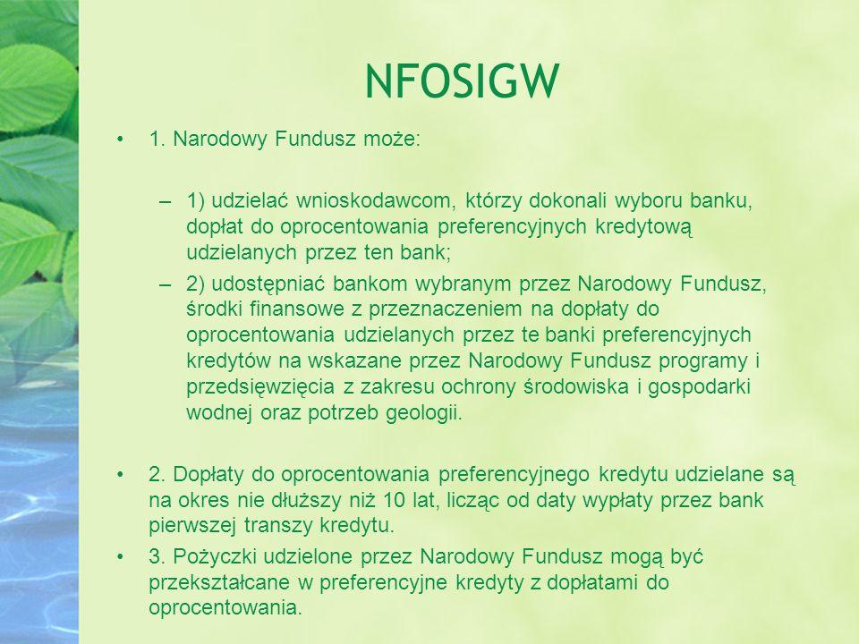 NFOSIGW 1. Narodowy Fundusz może: