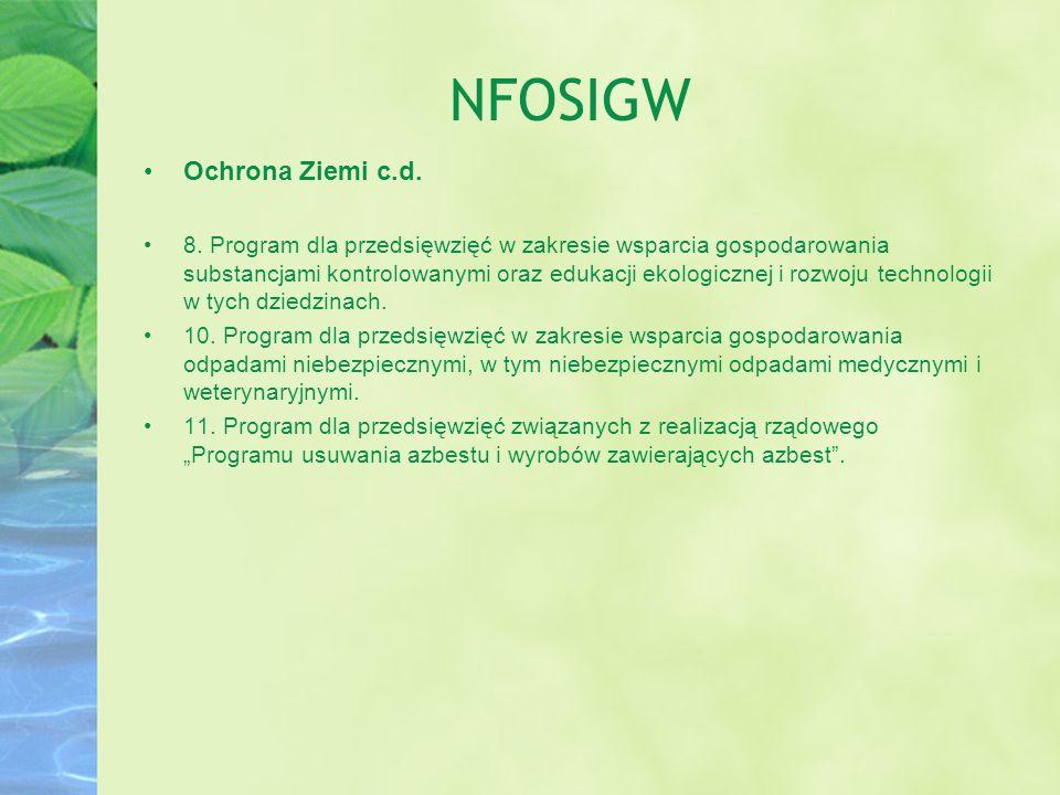 NFOSIGW Ochrona Ziemi c.d.