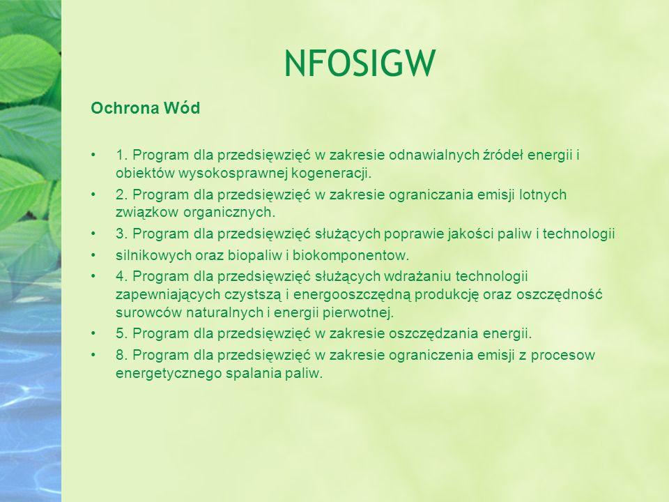 NFOSIGW Ochrona Wód. 1. Program dla przedsięwzięć w zakresie odnawialnych źródeł energii i obiektów wysokosprawnej kogeneracji.