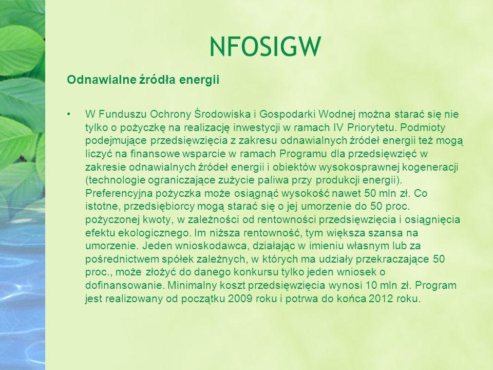 NFOSIGW Odnawialne źródła energii