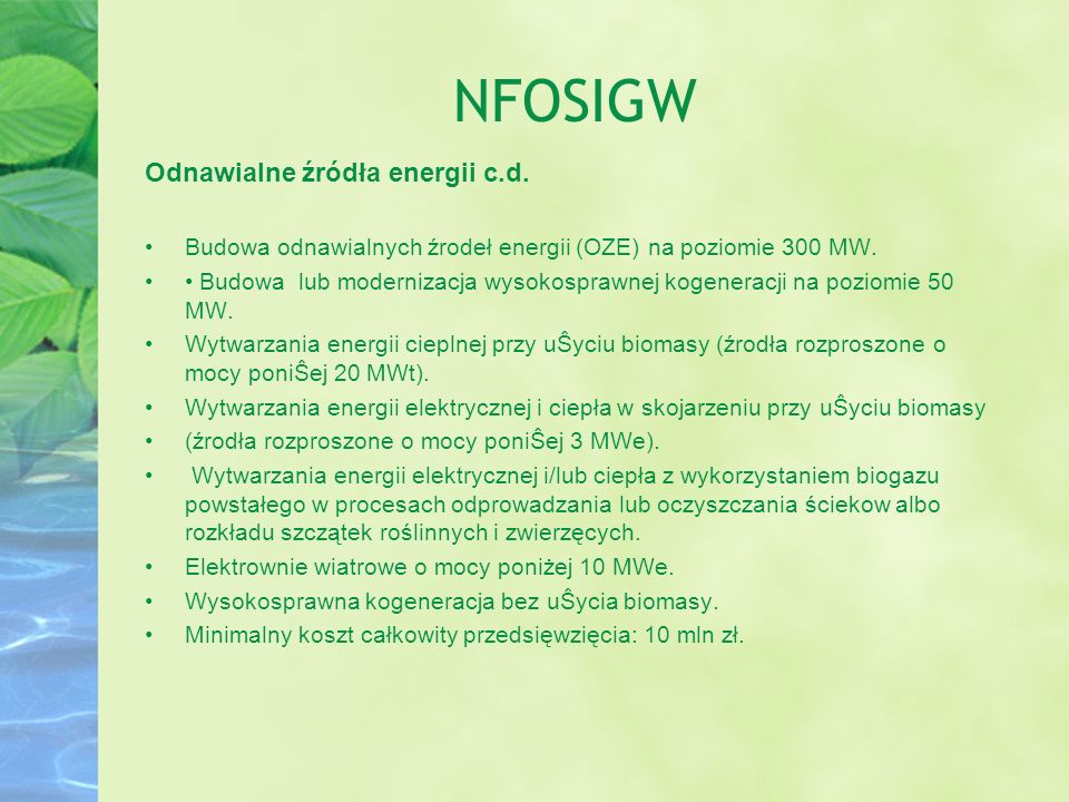 NFOSIGW Odnawialne źródła energii c.d.