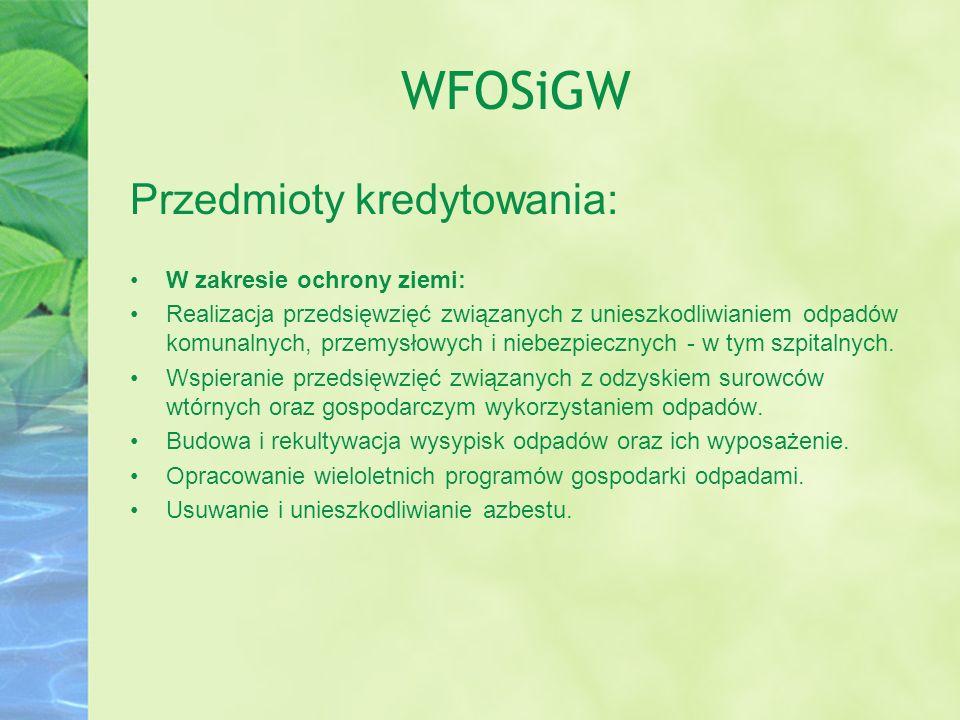 WFOSiGW Przedmioty kredytowania: W zakresie ochrony ziemi: