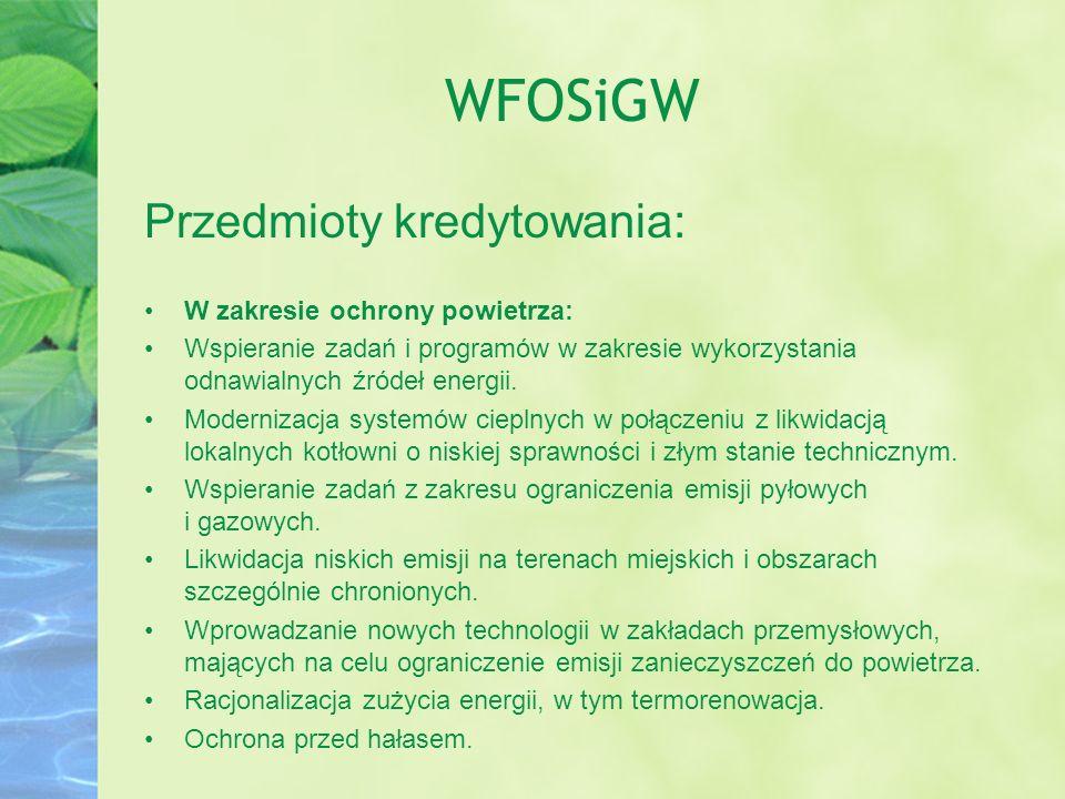 WFOSiGW Przedmioty kredytowania: W zakresie ochrony powietrza: