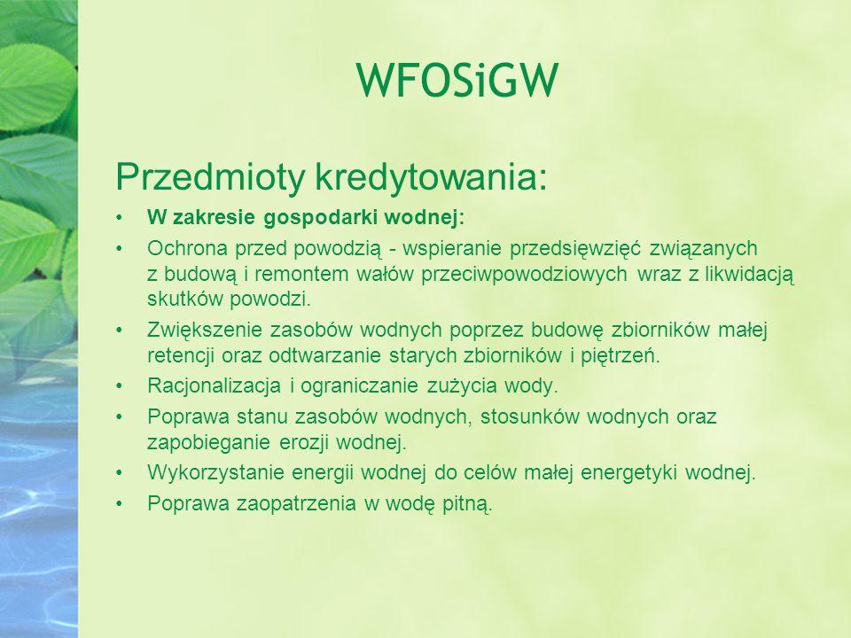 WFOSiGW Przedmioty kredytowania: W zakresie gospodarki wodnej:
