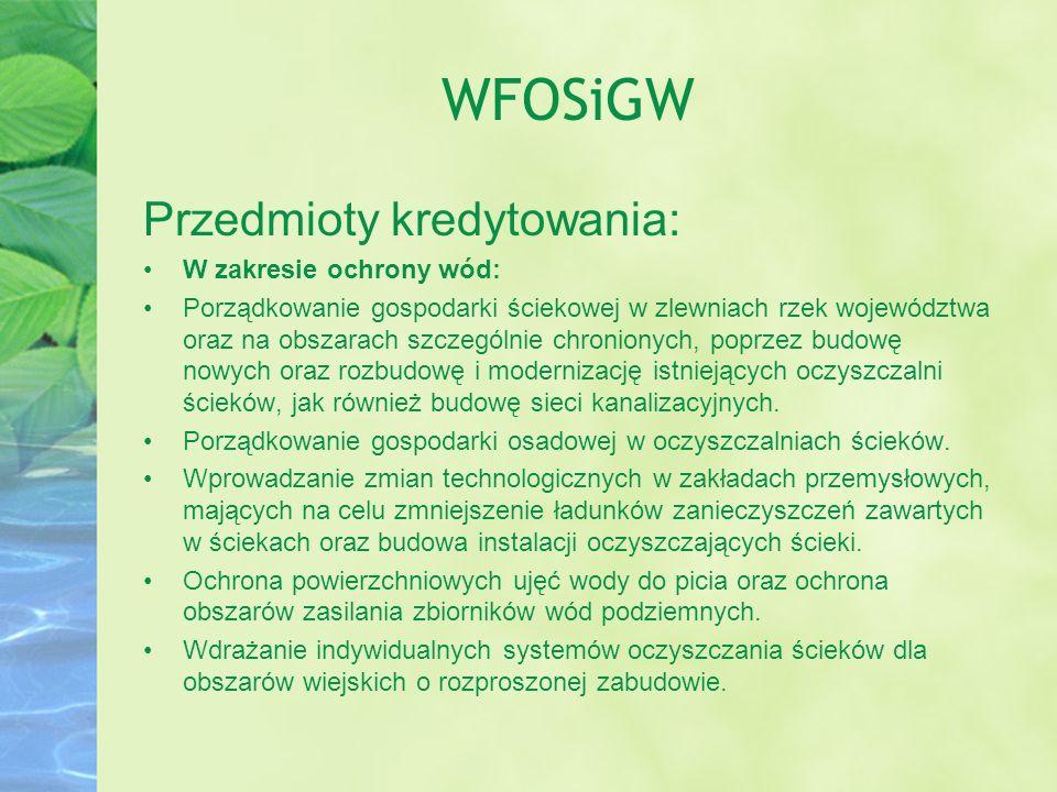 WFOSiGW Przedmioty kredytowania: W zakresie ochrony wód: