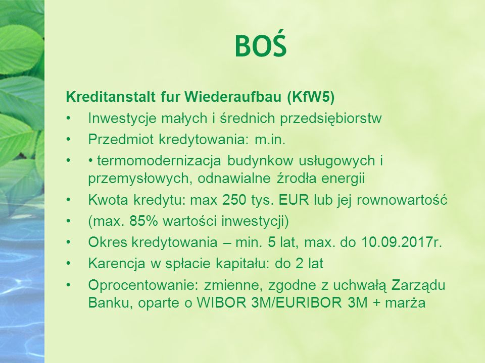 BOŚ Kreditanstalt fur Wiederaufbau (KfW5)