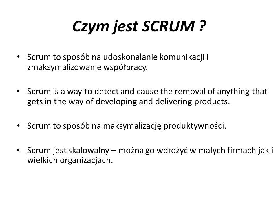 Czym jest SCRUM Scrum to sposób na udoskonalanie komunikacji i zmaksymalizowanie współpracy.