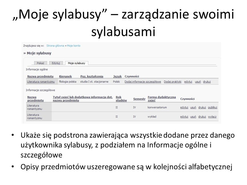 """""""Moje sylabusy – zarządzanie swoimi sylabusami"""