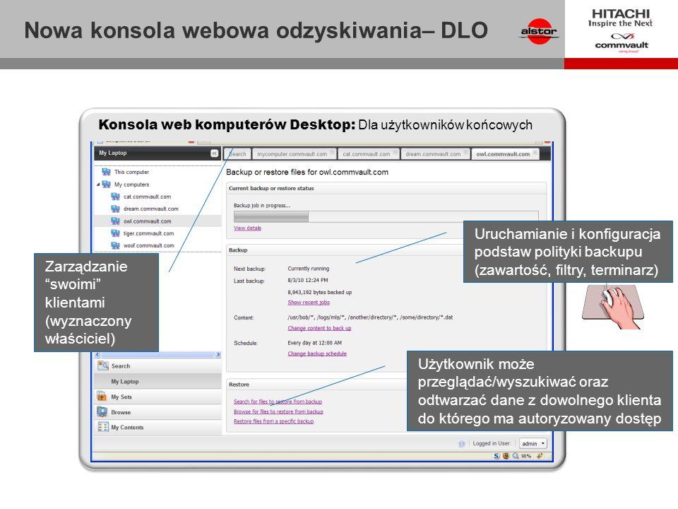 Nowa konsola webowa odzyskiwania– DLO