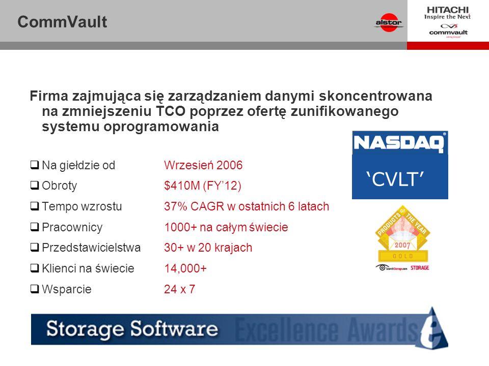 CommVault Firma zajmująca się zarządzaniem danymi skoncentrowana na zmniejszeniu TCO poprzez ofertę zunifikowanego systemu oprogramowania.