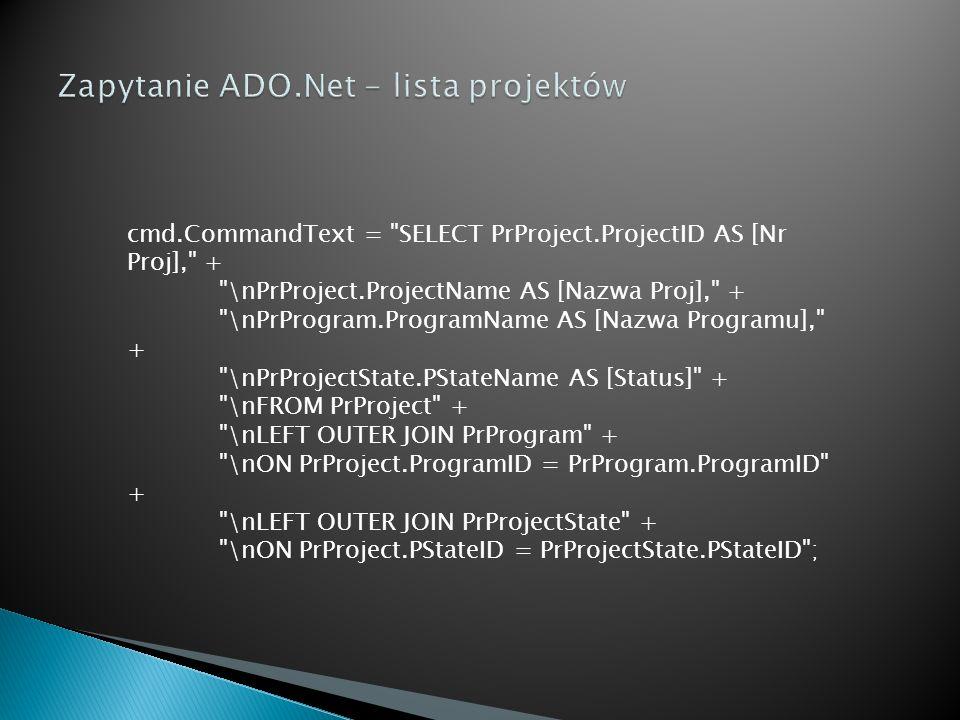 Zapytanie ADO.Net - lista projektów