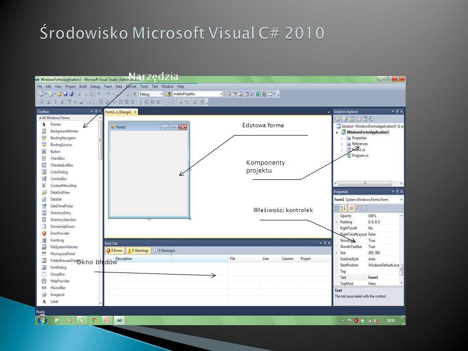 Środowisko Microsoft Visual C# 2010