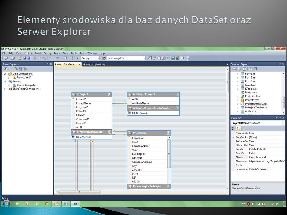 Elementy środowiska dla baz danych DataSet oraz Serwer Explorer