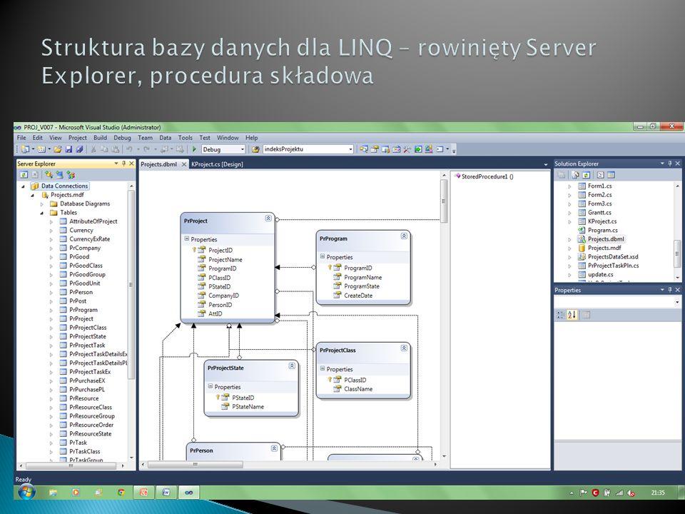 Struktura bazy danych dla LINQ – rowinięty Server Explorer, procedura składowa