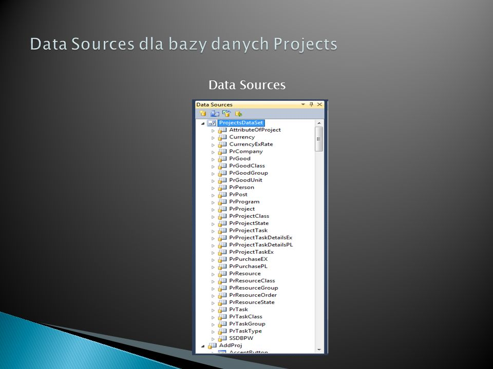 Data Sources dla bazy danych Projects