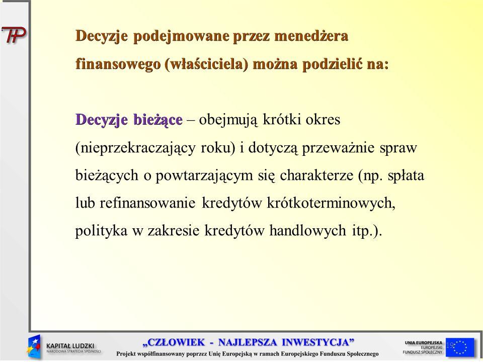 Decyzje podejmowane przez menedżera finansowego (właściciela) można podzielić na: