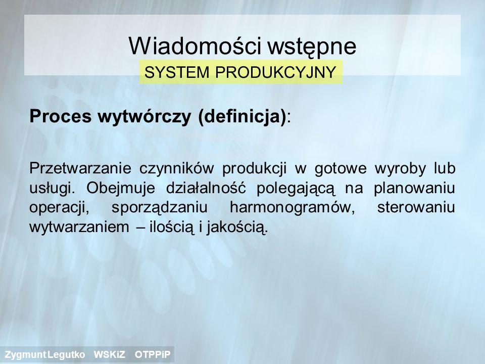 Wiadomości wstępne Proces wytwórczy (definicja): SYSTEM PRODUKCYJNY