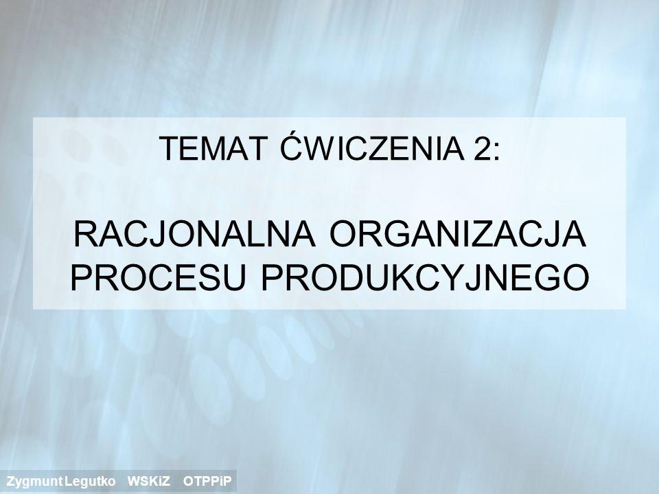 TEMAT ĆWICZENIA 2: RACJONALNA ORGANIZACJA PROCESU PRODUKCYJNEGO
