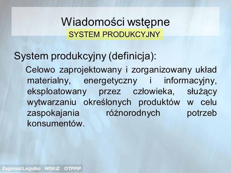 Wiadomości wstępne System produkcyjny (definicja):