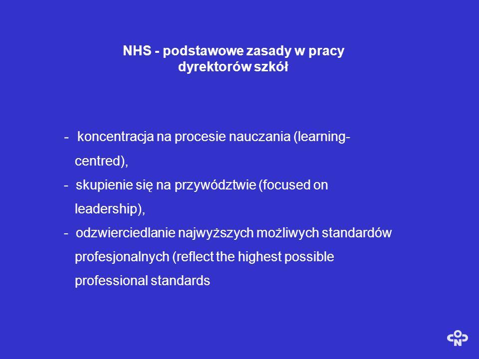 NHS - podstawowe zasady w pracy dyrektorów szkół