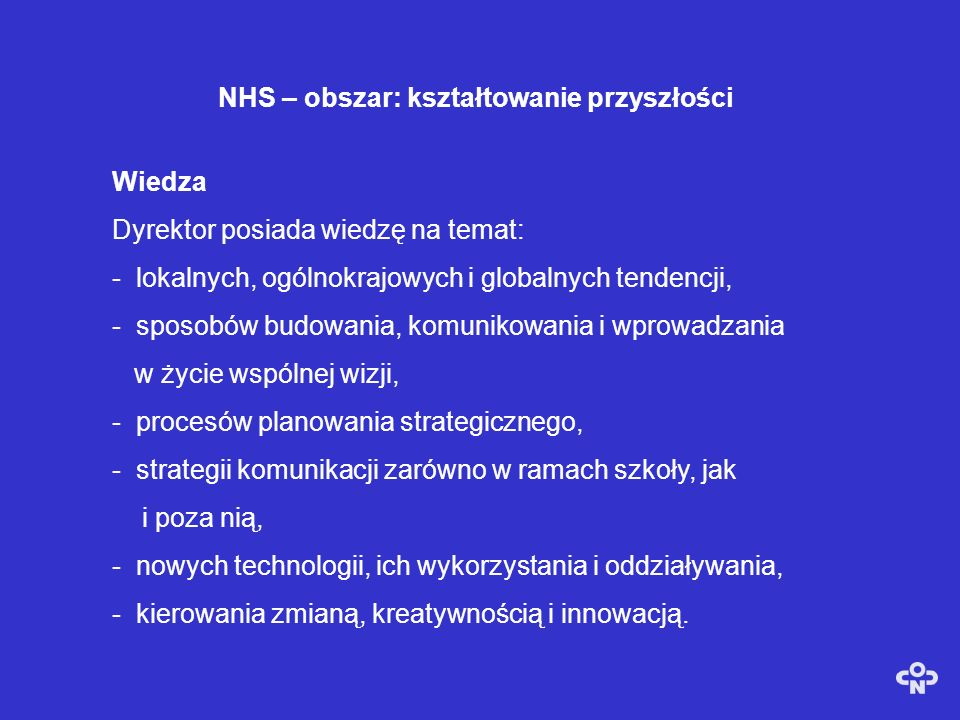 NHS – obszar: kształtowanie przyszłości