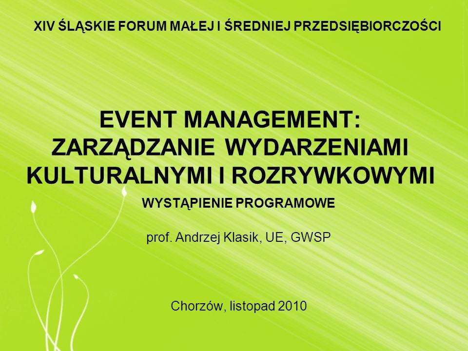 EVENT MANAGEMENT: ZARZĄDZANIE WYDARZENIAMI KULTURALNYMI I ROZRYWKOWYMI