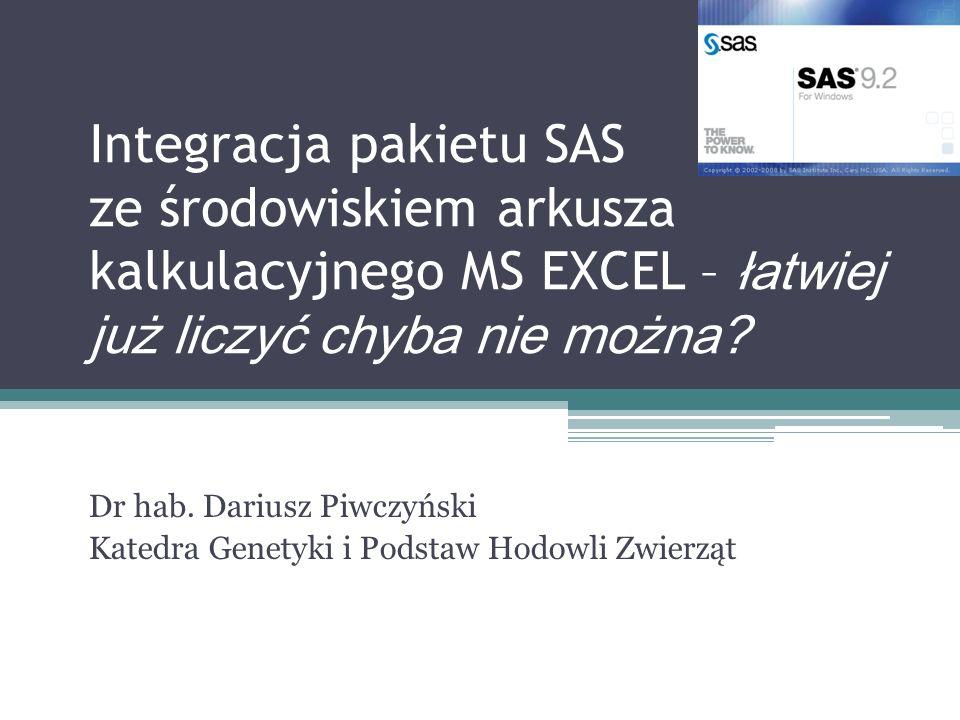 Dr hab. Dariusz Piwczyński Katedra Genetyki i Podstaw Hodowli Zwierząt