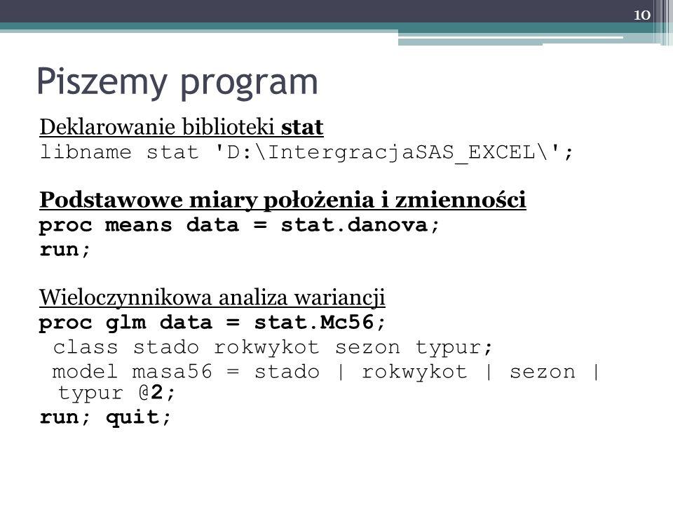 Piszemy program Deklarowanie biblioteki stat