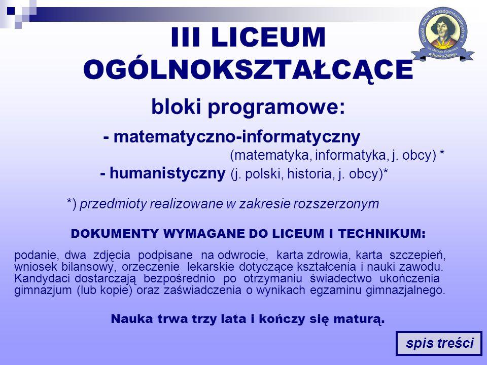 DOKUMENTY WYMAGANE DO LICEUM I TECHNIKUM: