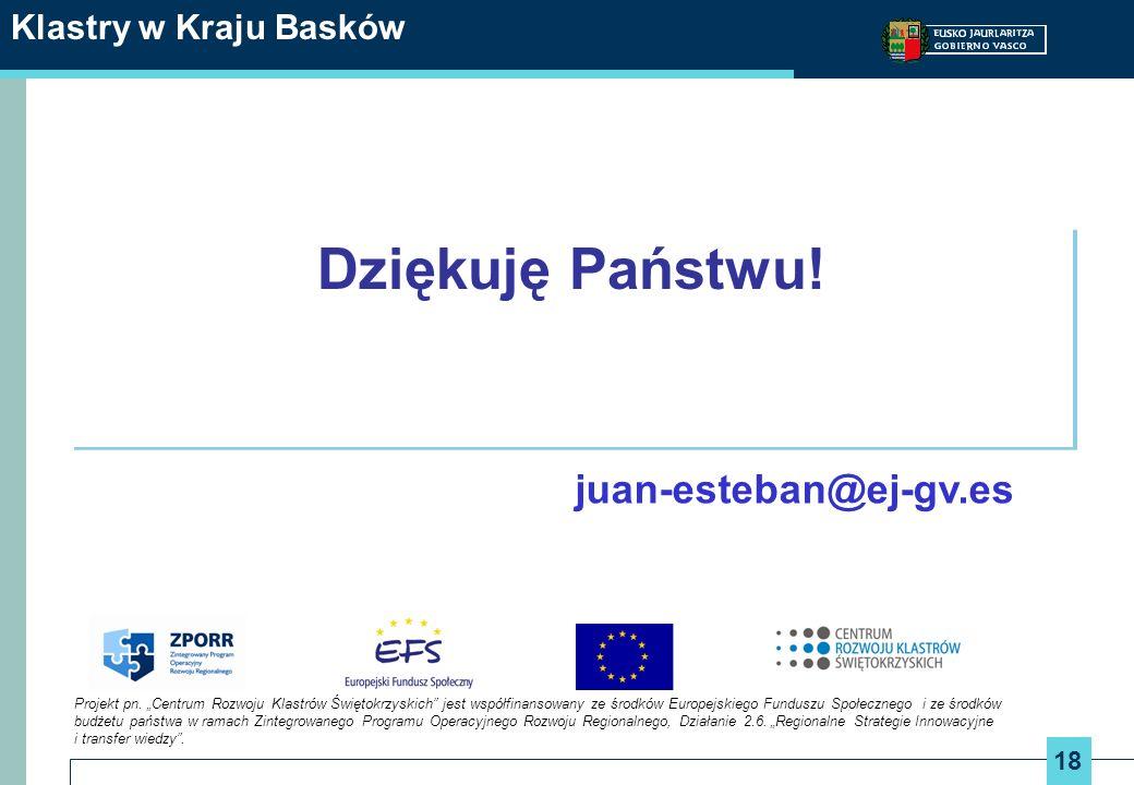 Dziękuję Państwu! juan-esteban@ej-gv.es Klastry w Kraju Basków