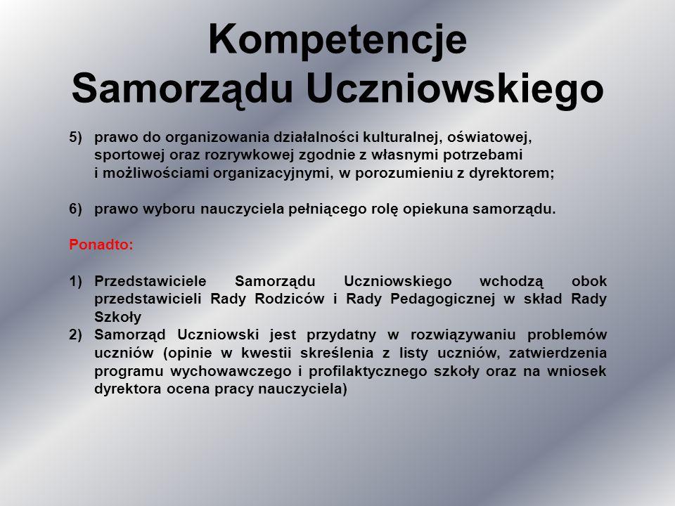 Kompetencje Samorządu Uczniowskiego