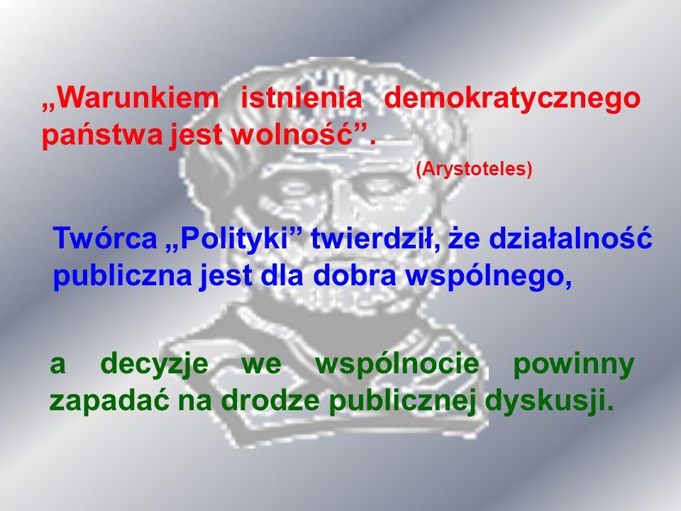"""""""Warunkiem istnienia demokratycznego państwa jest wolność ."""