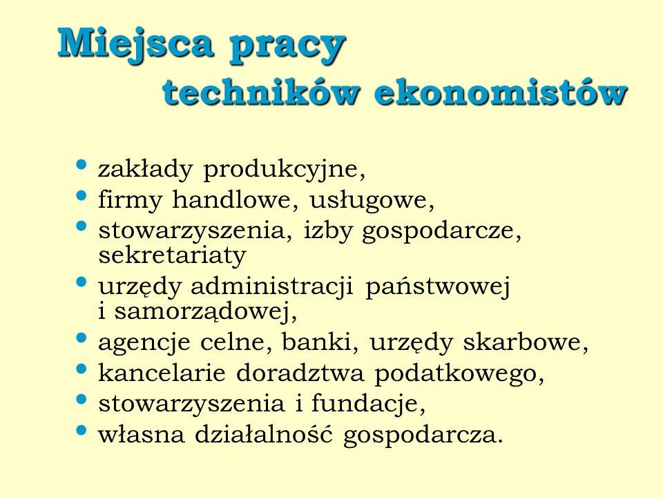 Miejsca pracy techników ekonomistów