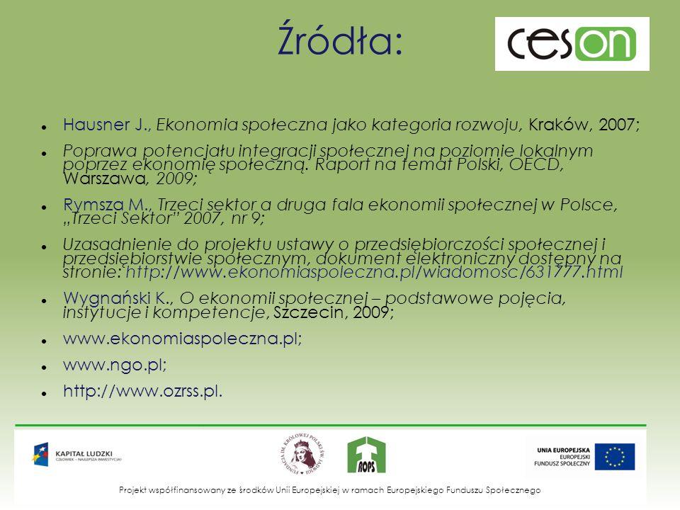 Źródła: Hausner J., Ekonomia społeczna jako kategoria rozwoju, Kraków, 2007;