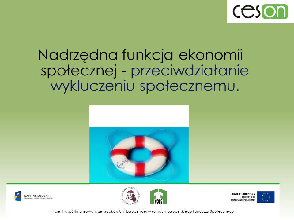 Nadrzędna funkcja ekonomii społecznej - przeciwdziałanie wykluczeniu społecznemu.