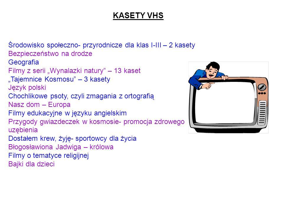 KASETY VHSŚrodowisko społeczno- przyrodnicze dla klas I-III – 2 kasety. Bezpieczeństwo na drodze. Geografia.