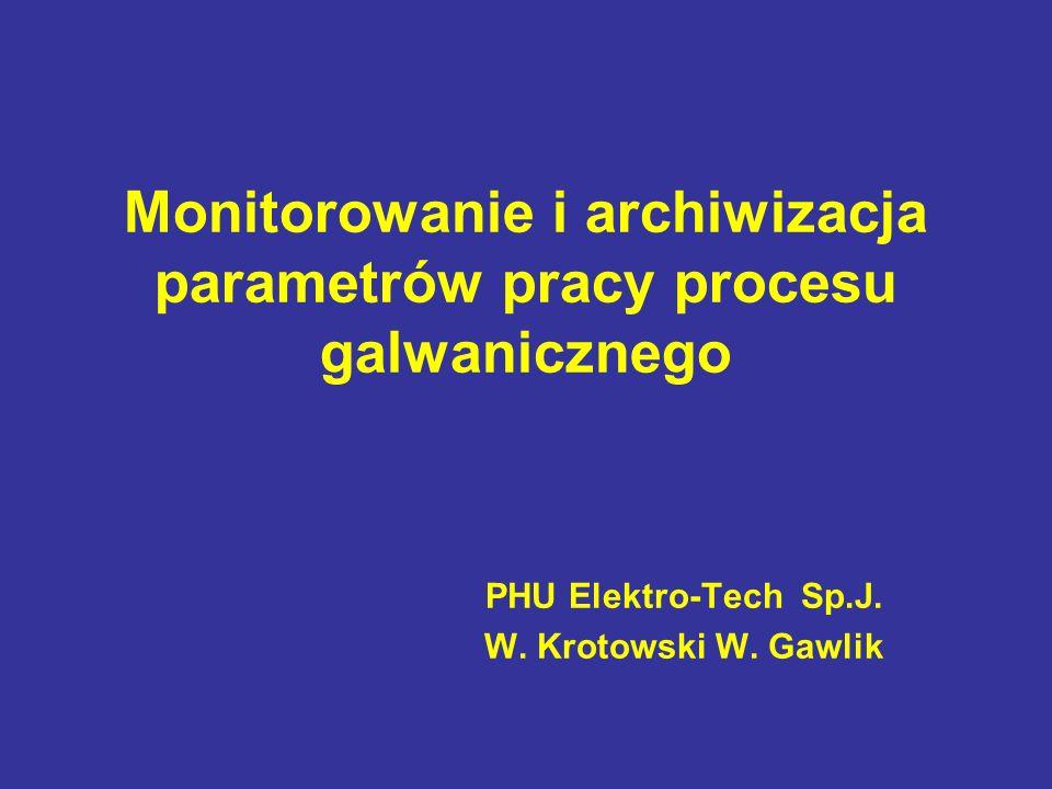 Monitorowanie i archiwizacja parametrów pracy procesu galwanicznego