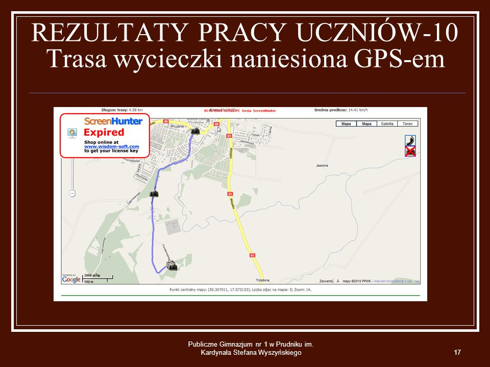 REZULTATY PRACY UCZNIÓW-10 Trasa wycieczki naniesiona GPS-em