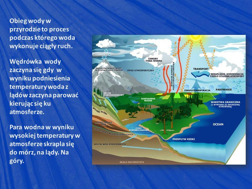 Obieg wody w przyrodzie to proces podczas którego woda wykonuje ciągły ruch.