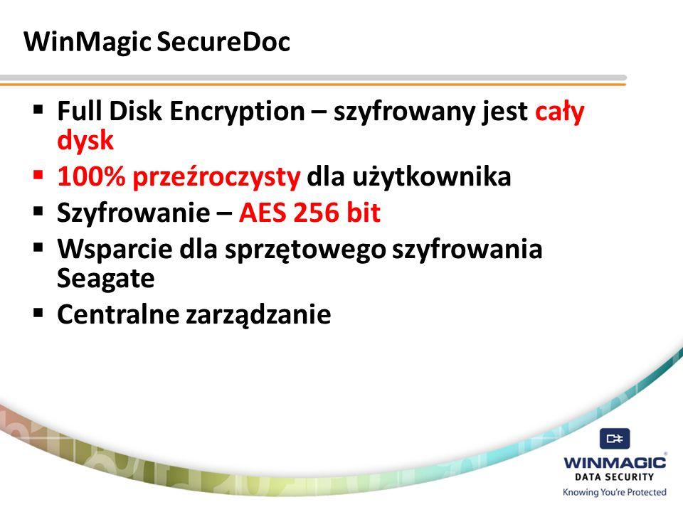 WinMagic SecureDocFull Disk Encryption – szyfrowany jest cały dysk. 100% przeźroczysty dla użytkownika.