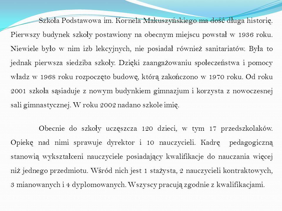 Szkoła Podstawowa im. Kornela Makuszyńskiego ma dość długa historię