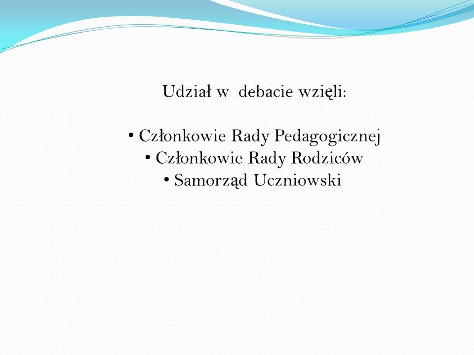 Udział w debacie wzięli: Członkowie Rady Pedagogicznej