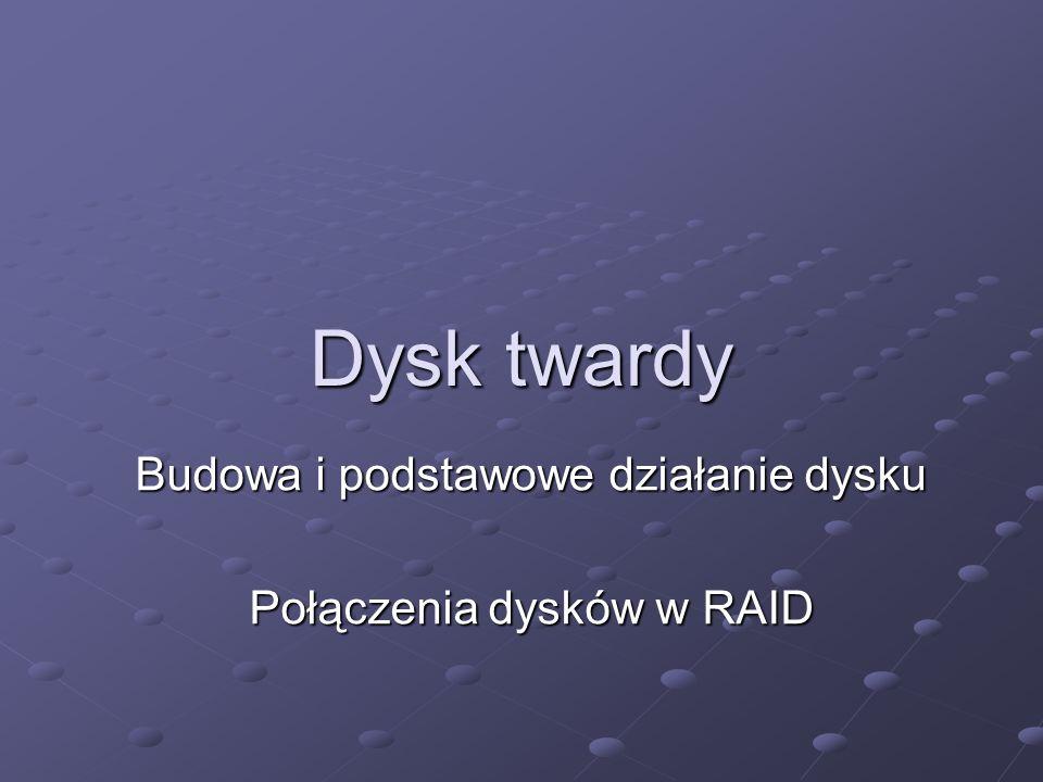 Budowa i podstawowe działanie dysku Połączenia dysków w RAID